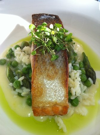 Salmon With Pea Asparagus Risotto Picture Of Oskars On