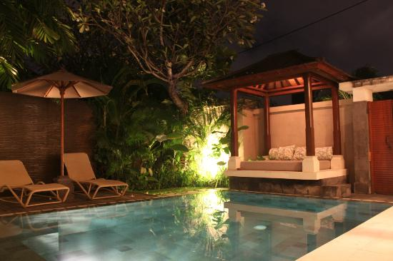 Disini Luxury Spa Villas: the private pool at night