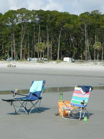 Hunting Island State Park Campground: campers and beach