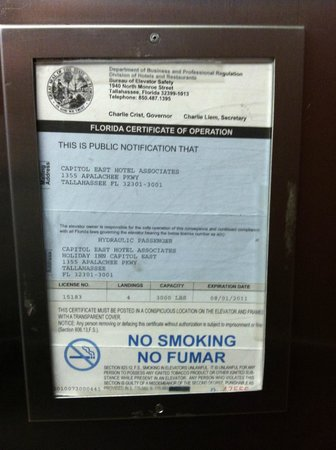 Holiday Inn Tallahassee Capitol Center: Elevator Inspection,  Out of Date, today date 5-4-12