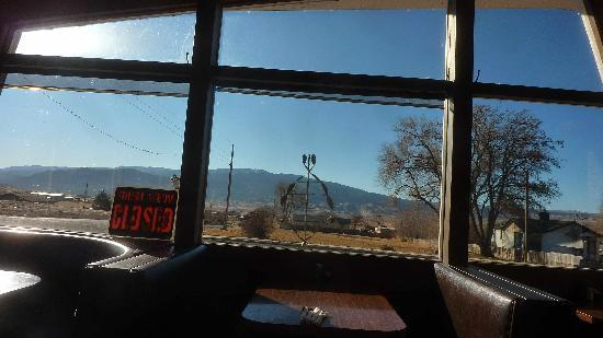 Bicknell, UT: sunny view of the country side from inside restaurant
