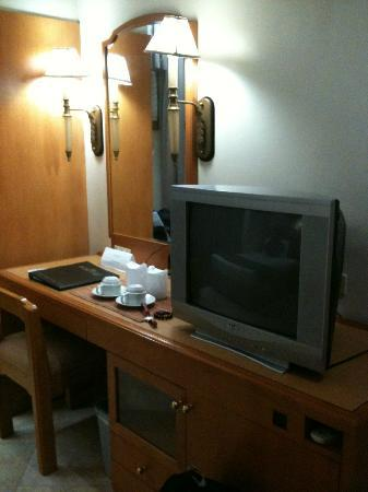 Palm Plaza Hotel: Fronting the beds are the TV and table