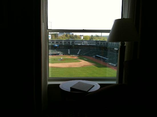 Hilton Garden Inn Manchester Downtown: View of baseball field next door to hotel from standard room