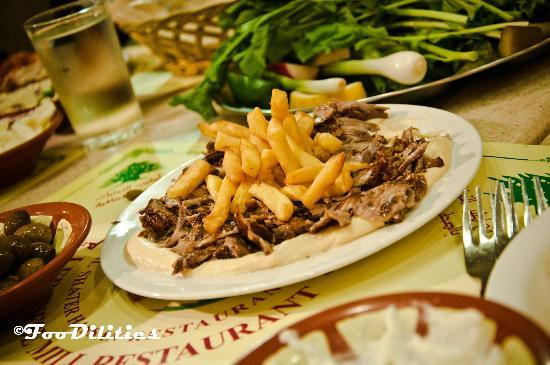 Lahm Meat Shawarma On Hummus Picture Of Lebanese Mill