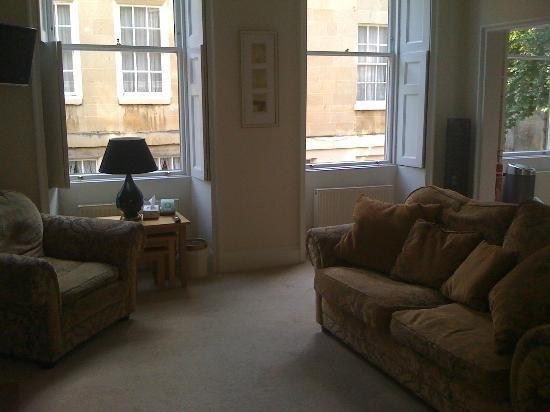 Three Abbey Green: Living Room with tall windows and lot of light