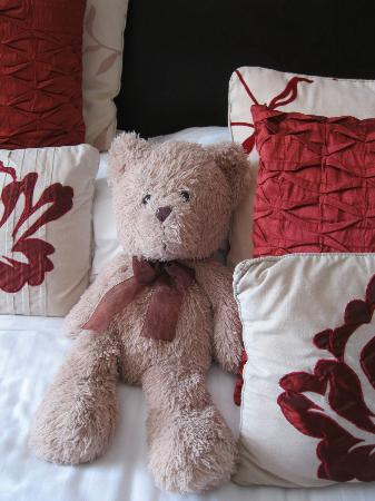 Montfort Cottage Guest House: The beautiful teddy bear that welcomed us to our room!