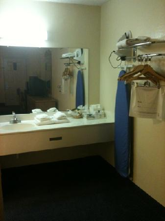Howard Johnson Express Staunton: sink, closet, and ironing board
