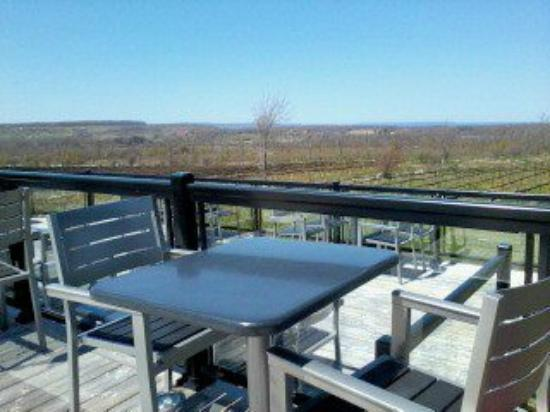 Grey County, Kanada: Relaxing patio overlooking the vineyards