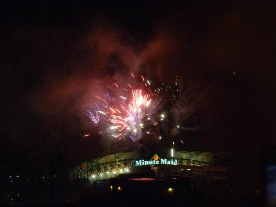 Inn at the Ballpark: The fireworks over the park from my room