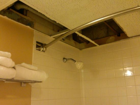 Days Inn Bath / Hammondsport: Ceiling tiles missing in the bathroom.