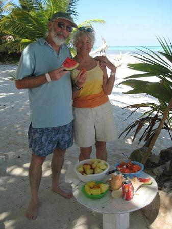 Fresh fruit on the beach in front of Coral Garden Inn