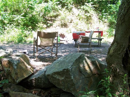 Gooney Creek Campground: Coming up from the river to our site!
