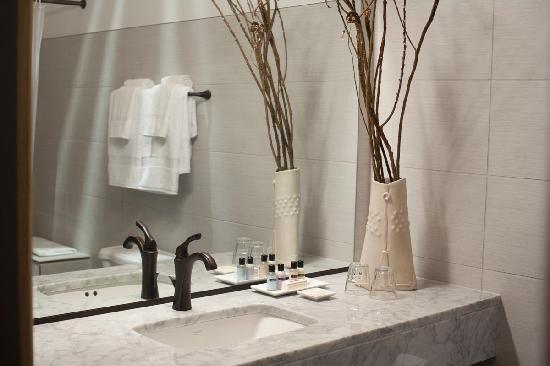 Hotel Cape Charles: carrera marble vanities in our bathrooms