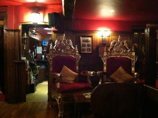Saint Albans, UK: A pair of thrones greets you on entry!