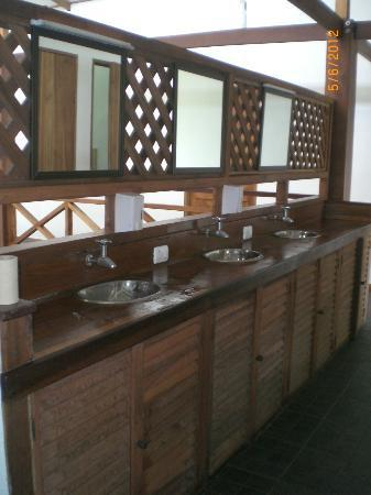 Pagalu Hostel: sinks in front of bathrooms