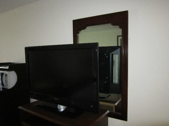 Holiday Inn Staunton Conference Center: Big ole TV blocking the room's mirror.