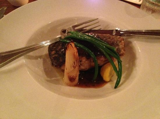 Broth: pan fried seabass