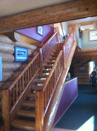 Crooked Creek Retreat: Stairs to rooms, second dinning area, and playroom
