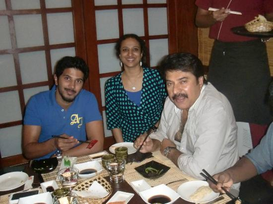 mammootty amp dhulkar with roopa george at tokyo bay