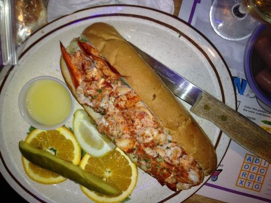 The monster size lobster roll picture of maine fish for Maine fish market