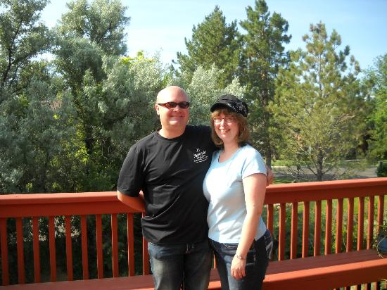 Bride of 18 years and me on deck of Castle Creek B&B