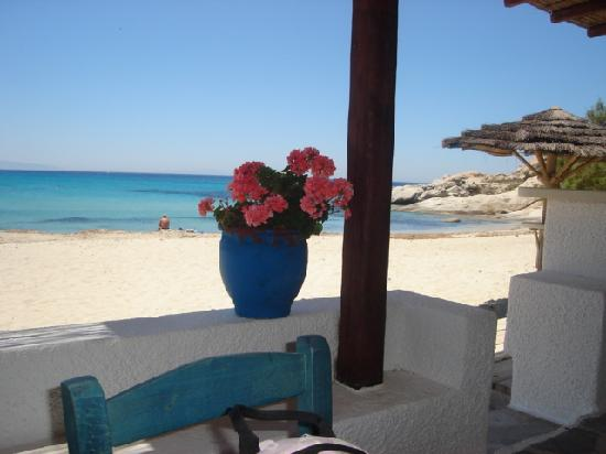 Acti Plaka Apartments: Mikri Vigla taverna and beach one hour lovely walk from Acti down the beach