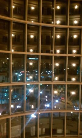 Embassy Suites Tampa - Downtown Convention Center: Main building windows at night.