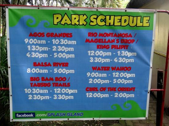 Splash Island Park Schedule