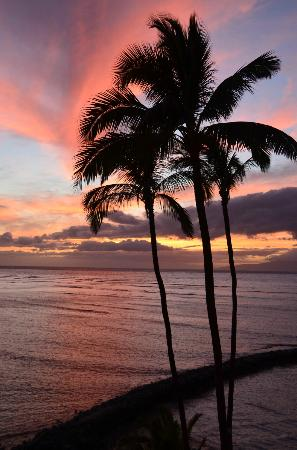Menehune Shores Oceanfront Maui Condos: Sunset View from Unit 418