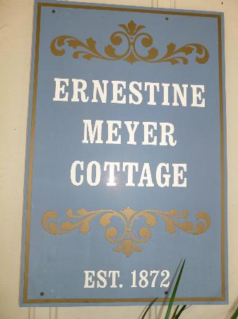 Meyer Bed and Breakfast on Cypress Creek: An informational shingle on our room