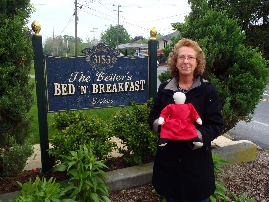 Beiler's Bed & Breakfast: Miss Sadie, my authentic handmade Amish doll, in front of B&B.