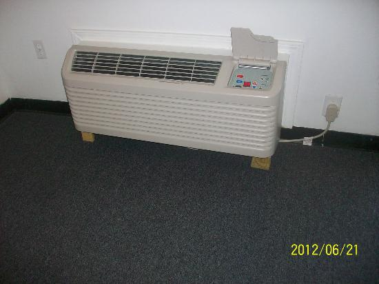 Savannah Suites: AC unit on cut boards