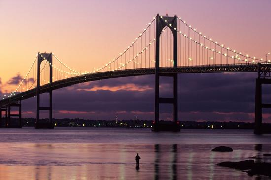 Night glow over the Claiborne Pell Newport Bridge