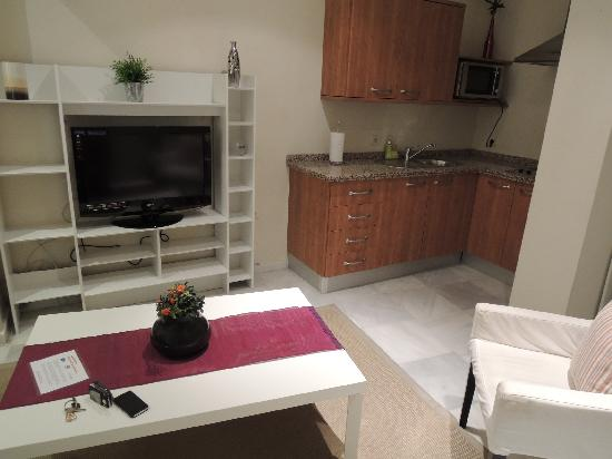 Apartamentos Altamira Sevilla: Living room and kitchen