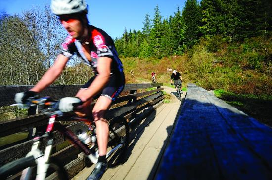 Mountain biking on the Lost Lake trails, Whistler, British Columbia, Canada