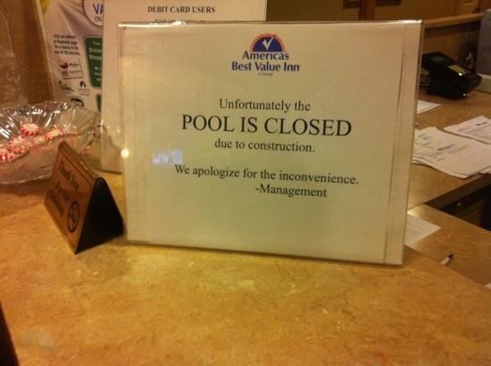 Americas Best Value Inn - Hot Springs: pool sign 6-29-2012