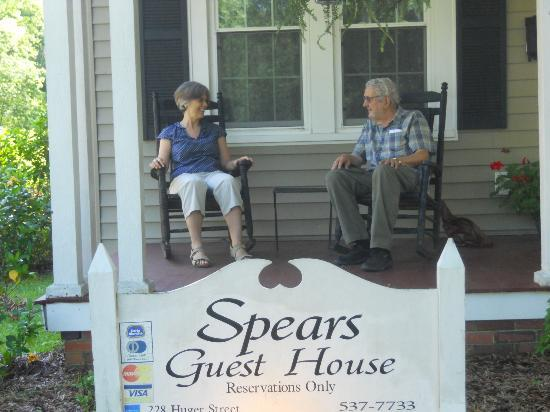 Spears Guest House: my husband & I relaxing on the big porch