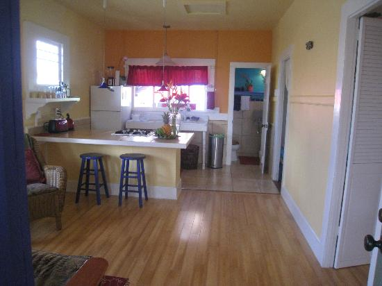 The Lotus Garden Hilo: open plan kitchen & living area in The Lotus vacation rental