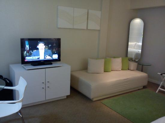Holiday Inn Express Hotel & Suites at the WTC: Pantalla plana y variedad de canales.