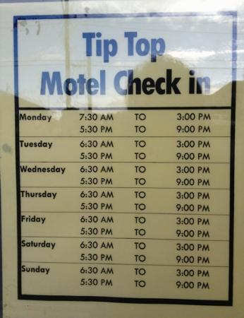 Tip Top Motel Check In Times June 2012