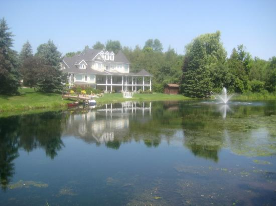 Nestleton, Canada: Picture of the back of the Inn from across the pond.