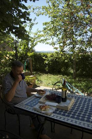Le Camerine di Silvia: Wine and cheese in the garden, with appricots from their tree!