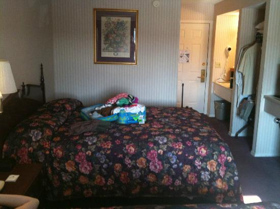 Wintergreen Resort & Conference Center: Old shoddy room- ugly wallpaper, old worn carpet and bedspreads