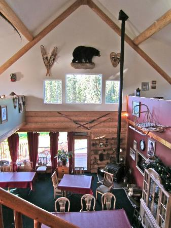 Crooked Creek Retreat: Looking down on the dining room from the loft