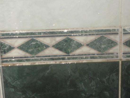 Shepherd Neame - The Fayreness Hotel: grotty grouting that had turned pink in places where it hadnt been cleaned