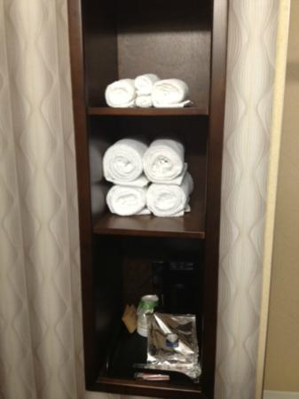Hampton Inn Jackson- Flowood: towel tower and coffee maker behind bathroom door