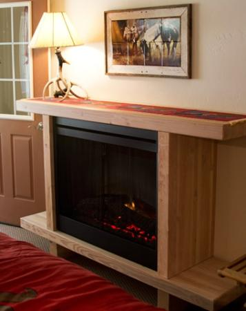 Hot Springs Inn: Realistic electric fireplace in every room