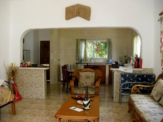 Villa anse possession: sala e cucina