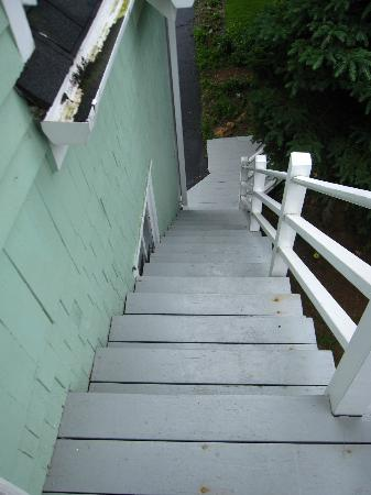 Riverside Inn and Restaurant: narrow stairs up to room - upper coach
