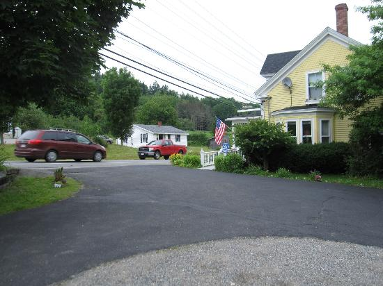 East Machias, ME: view of street from parking area in front of room